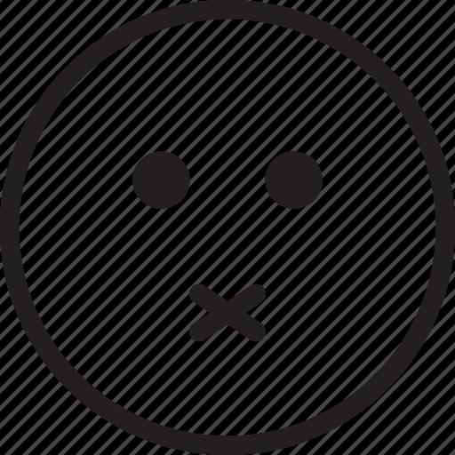 emoji, emotions, lips, no, sealed, smiley, words icon