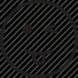 cheeky, emoji, emotions, smiley, wink icon