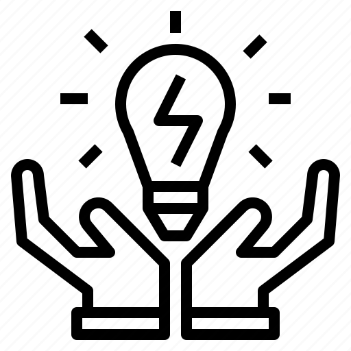 electricity, energy, hand, light, saving icon
