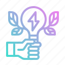 ecology, energy, green, hand, power icon