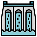 water, dam, energy, dike, wave icon