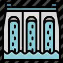 dam, dike, energy, water, wave icon