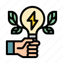 energy, ecology, green, power, hand icon