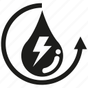 electricity, renewable, water, water drop icon