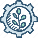 energy, gear, green, plant icon, power icon