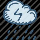 cloud, electric, energy, forecast, power, rainy icon, weather