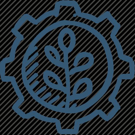 energy, gear, green, plant icon, power icon