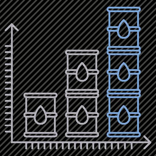 barrel, chart, growth, industry, market, oil, petrol icon