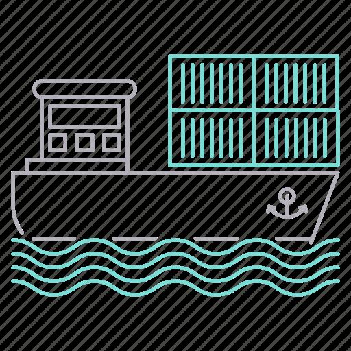 delivery, energy, gasoline, petrol, sea, ship icon