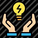 bulb, ecology, energy, hand, idea, light bulb, saving