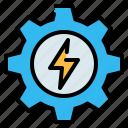 bolt, ecology, energy, gear, setting, thunderbolt icon