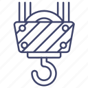 construction, crane, hook, lift icon