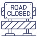 closed, construction, road, stop icon