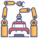 factory, production, robotic, assembly icon