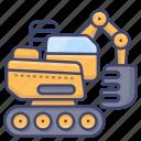 caterpillar, construction, excavator, work icon