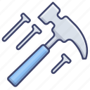 hammer, hardware, nails, tools icon