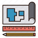 blueprint, document, map, tools icon