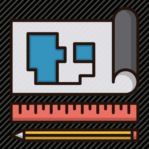 blueprint, document, map, tools icon