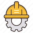 engineering, gear, hat, repair icon