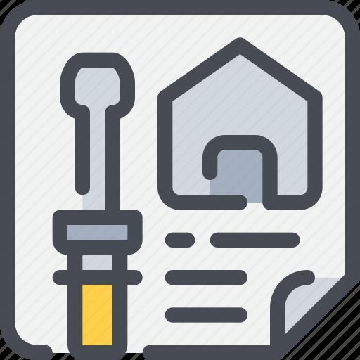 blueprint, civil, construction, planning icon