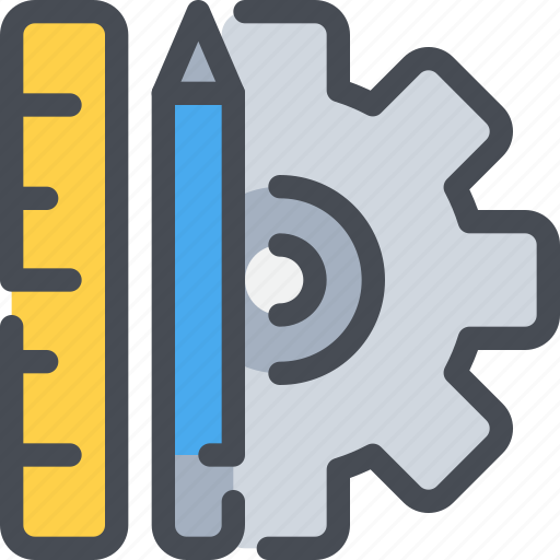 civil, cog, gear, management, pencil, ruler, tool icon