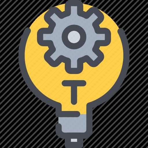 cog, gear, idea, light, management, process icon