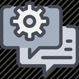 cog, communication, gear, talk icon