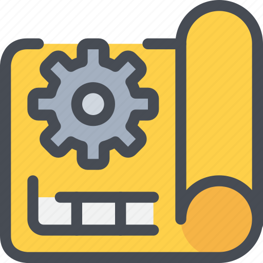 blueprint, cog, construction, gear, planning icon