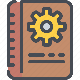 book, cog, education, gear, learning, management icon