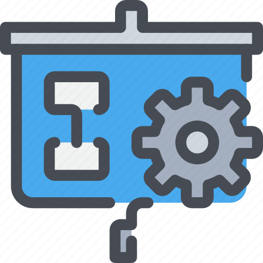 cog, gear, present, presentation, report icon