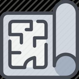 blueprint, civil, construction, house, plan, planning icon