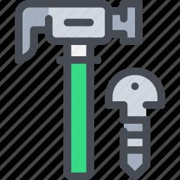 civil, construction, hammer, tool icon