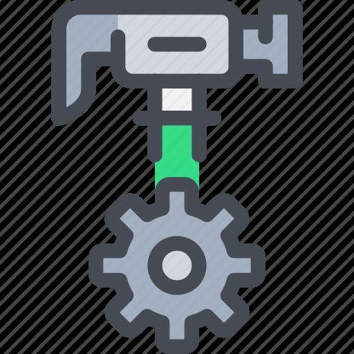 cog, construction, gear, hammer, process, tool icon