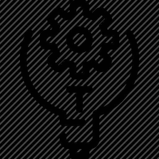 cogwheel, creative, engineer, gear, idea, light, manufacturing icon