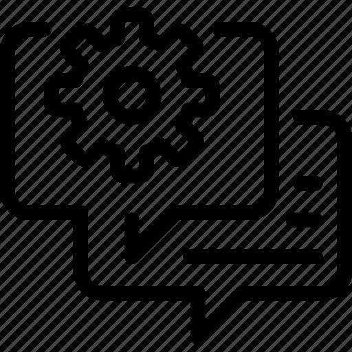 cogwheel, communication, engineer, gear, manufacturing, message icon