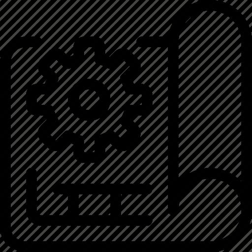 cogwheel, engineer, gear, manufacturing, plan, planning icon