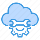 cloud, engineer, factory, industrial, manufacturing, setting icon