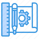 engineer, factory, industrial, manufacturing, plan, tool icon