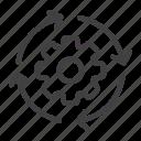 arrow, gear, management, process, work, workflow icon