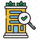 building, inspection, magnifier icon