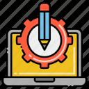 cad, computer, gear, software icon