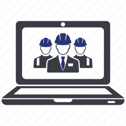 avatar, computer, engineer, group, laptop, manager, worker icon