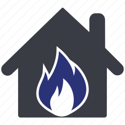 estate, fire, home, house, real icon