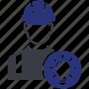 avatar, bulb, man, user, work, worker