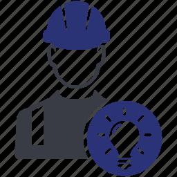 avatar, bulb, man, user, work, worker icon