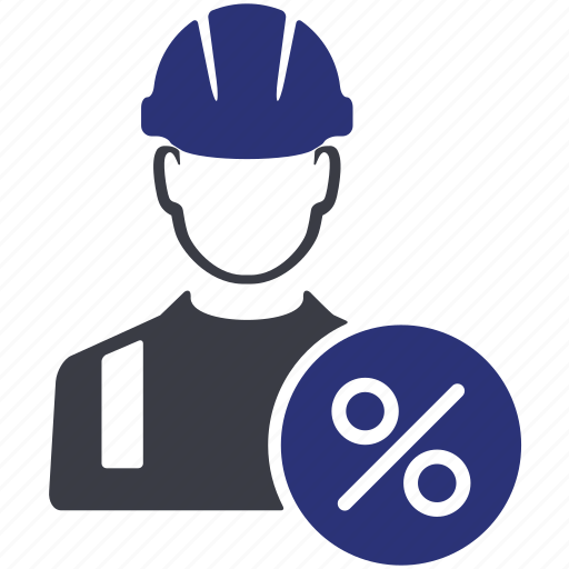 avatar, man, people, percent, user, work, worker icon
