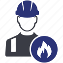 avatar, fire, man, people, work, worker icon