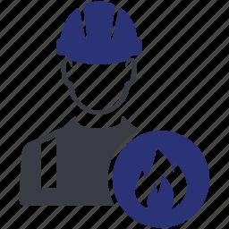 avatar, fire, man, people, work, worker icon
