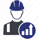 avatar, build, building, chart, graph, worker icon
