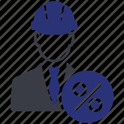 avatar, business, engineer, man, percent, user icon